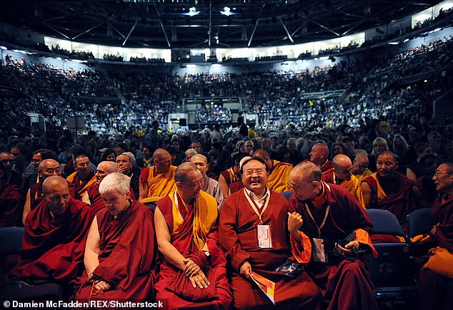 The formerly world-renowned Buddhist teacher from Tibet Sogyal Rinpoche (pictured seated in the front row and holding a programme) is reportedly currently in Tibet and has apologised for any hurt caused