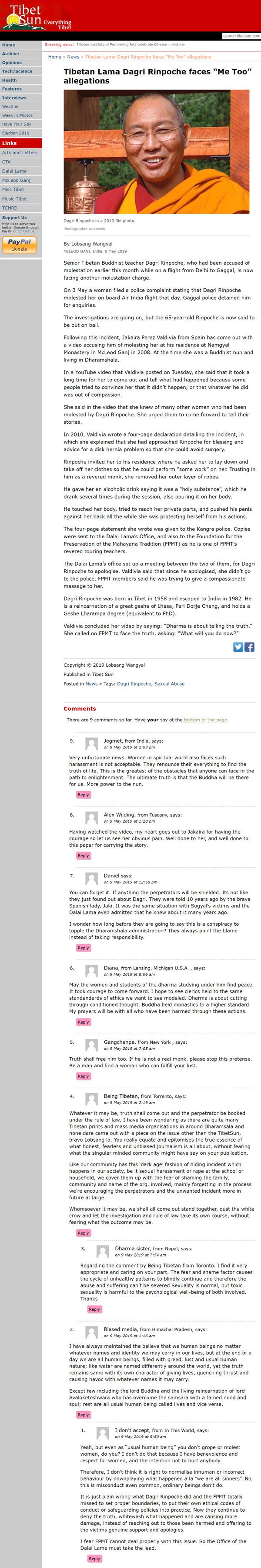 Screenshot of tibetsun.com's article